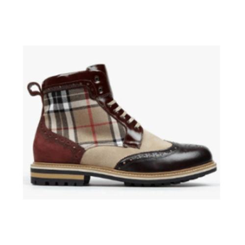 New Color Matching Plaid Short Boots Men's Boots