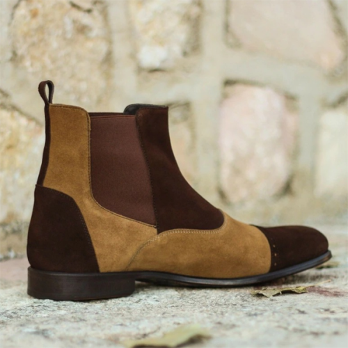 Fashion Trend Round Toe Color Matching Men's Casual Low-top Chelsea Boots