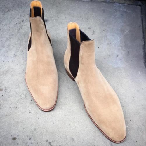 2021 Low Heel Round Toe Suede Men's Low Top Chelsea Boots