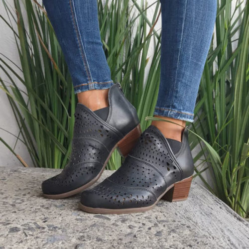 Women's Retro Cut-out Low Heel Ankle Boots