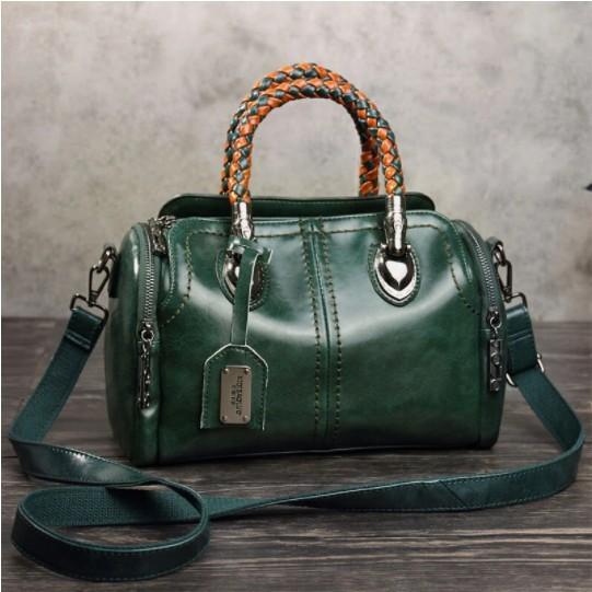 Women Vintage Handbag Oil Wax Leather Crosssbody Bag
