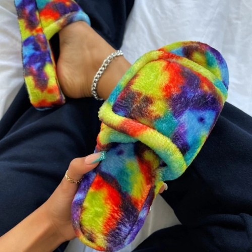Women Fashion Artificial Suede Multicolor Large Size Flat Slippers
