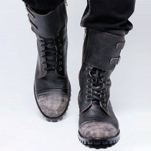 Autumn and Winter New Low-heel Men's Round Toe Mid-tube Knight Boots