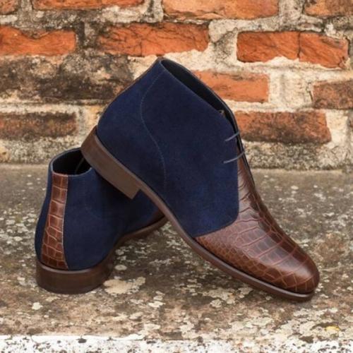 Fall Low-heel Round-toe Stone Pattern Stitching Men's Short Boots