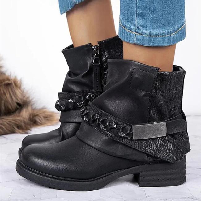 Large Size Women Retro Patchwork Crystal Buckle Design Side-zip Comfy Short Boots