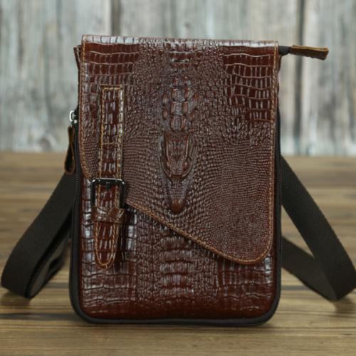 Simple Leather Men's Retro Crocodile Texture Casual Bag