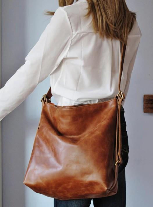 Women Tan Convertible Leather Backpack Shoulder Bag
