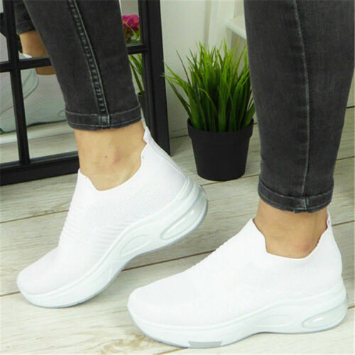 Women's Fashion Solid Color Flying Knit Sneakers
