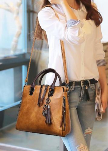 Women Tassel Solid Vintage Handbag Crossbody Bag