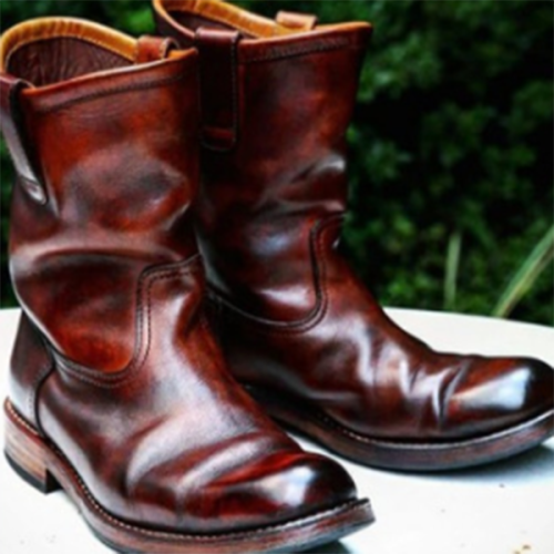 2021 Autumn and Winter Men's Fashion Trend Flat-heel Men's Leather Boots