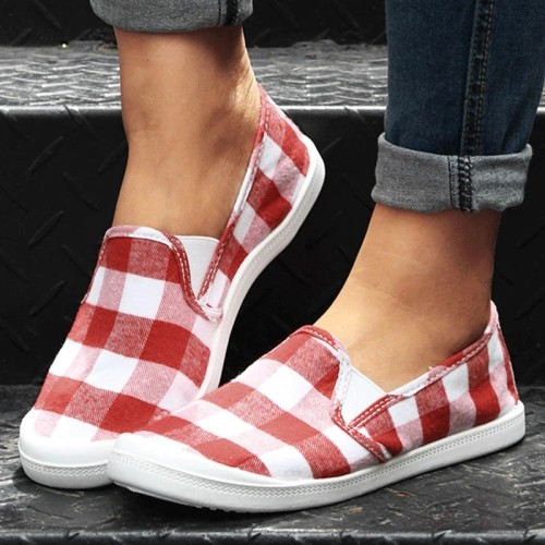 Women Casual Daily Cloth Plaid Printed Slip On Flats