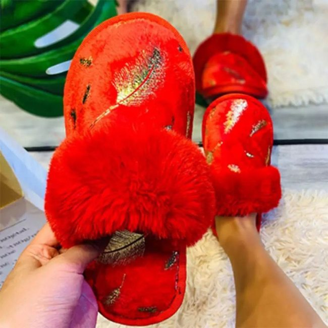 Golden Feather Home Warm Slippers