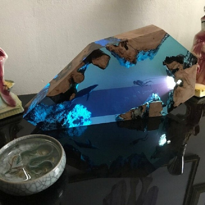 🐋Large Epoxy Resin Wood Light Lamp, Diver and Humpback whale🔥LAST DAY 50% OFF🔥