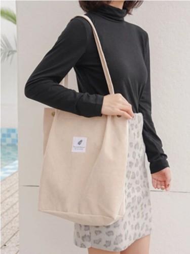 Women Corduroy Large Capacity Handbag Shoulder Bag Tote