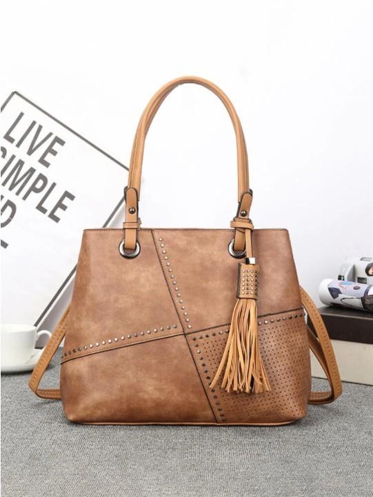 Simple Studded Design Tassel Decor Handbag Double Zipper Pocket Texture Hardware Crossbody Bag