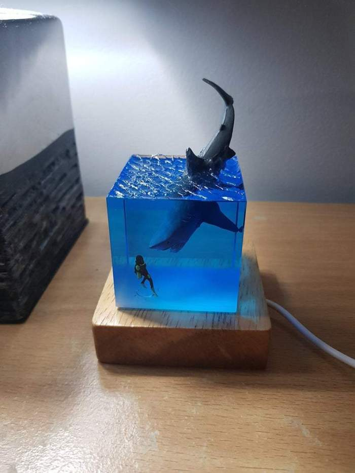 3D Shark Diver Decoration LED Lamp