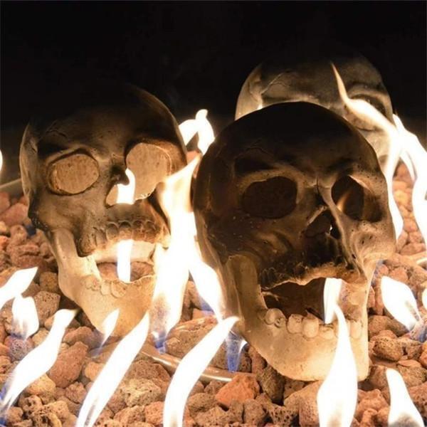 Last Day 50% OFF-Ceramic Imitation Human Skull Fire Log, Halloween Fire Pit Skulls