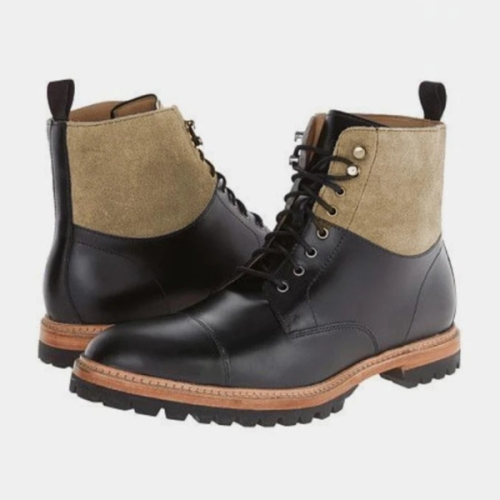Low-heel Square Heel Men's Lace-up Low-top Martin Boots