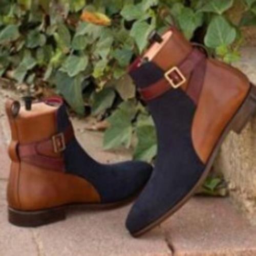 New Thick Heel Belt Buckle Color Matching Men's Boots