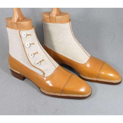Autumn and Winter Color Matching Round Toe Thick Heel Button Decoration Martin Boots
