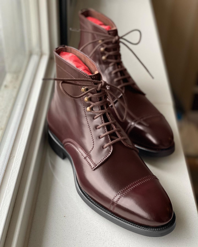 [NEW!]Men's Brown Genuine Leather Martin Boots