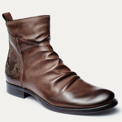 Badge Embroidery Side Zipper Men's Knight Men's Leather Boots