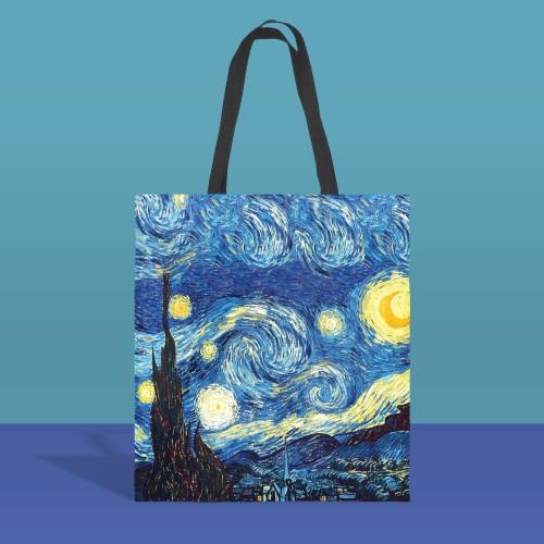 Van Gogh starry sky canvas tote bag