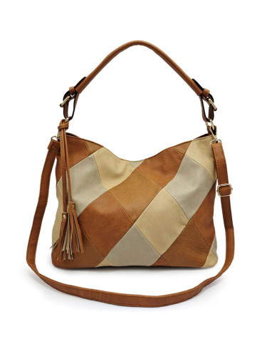 Women's Retro PU Leather Stitching Shoulder Bag