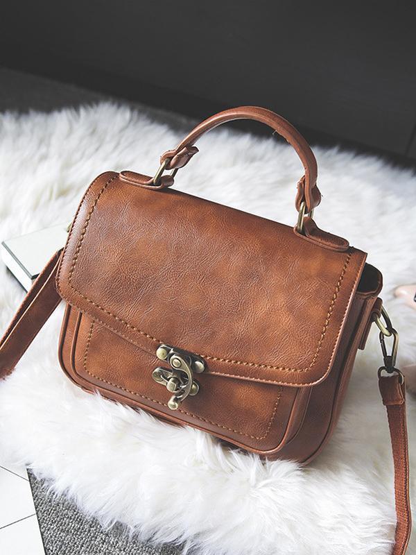 Vintage Unique Buckle Washed Leather Bag