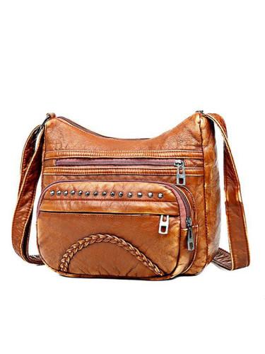 Vintage Studded Washed Leather Bag