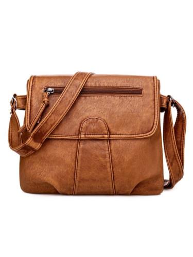 Vintage Washed Leather Pleated Utility Bag