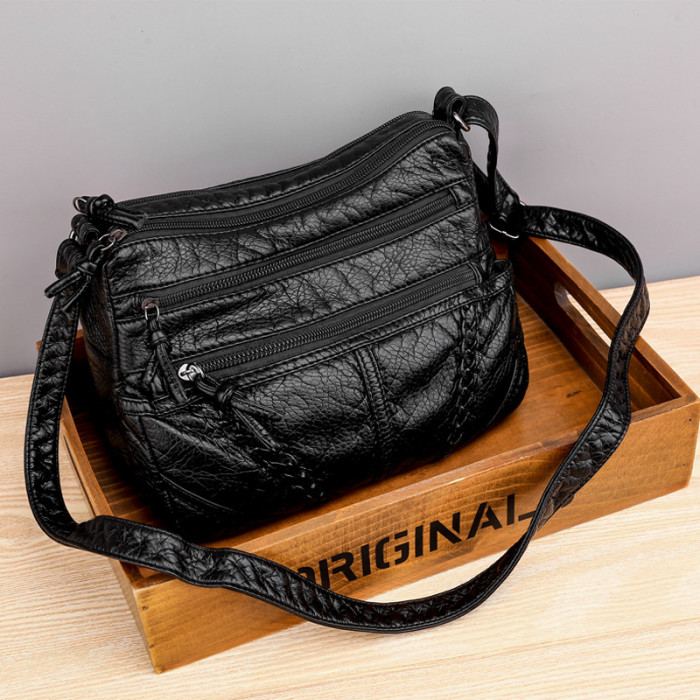 Casual soft leather solid color large capacity shoulder bag