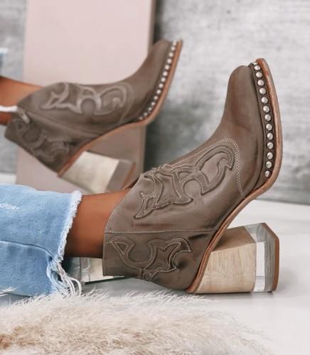 Women Rivet Welt Acrylic Heel Booties