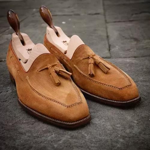Men's Khaki Suede Fringe Shoes