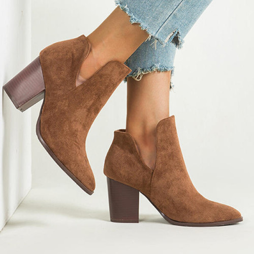 Women's Suede Chunky Heel Closed Toe Boots Booties Winter Boots
