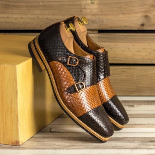 2021 Python Pattern Color-blocking Buckle Men's Single Shoes