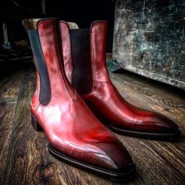 New Low-heel Square Toe Men's Mid-tube Chelsea Boots