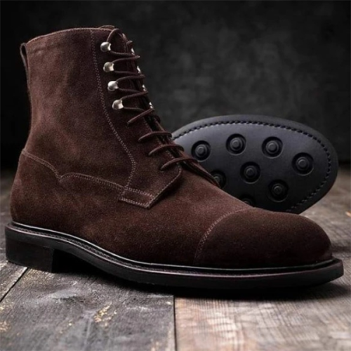 Low Heel Square Heel Frosted Men's Lace-up Low Boots