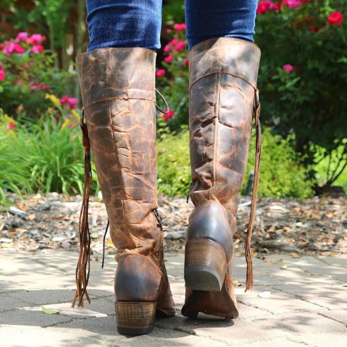 Women Heel Tassel Lacing Boots