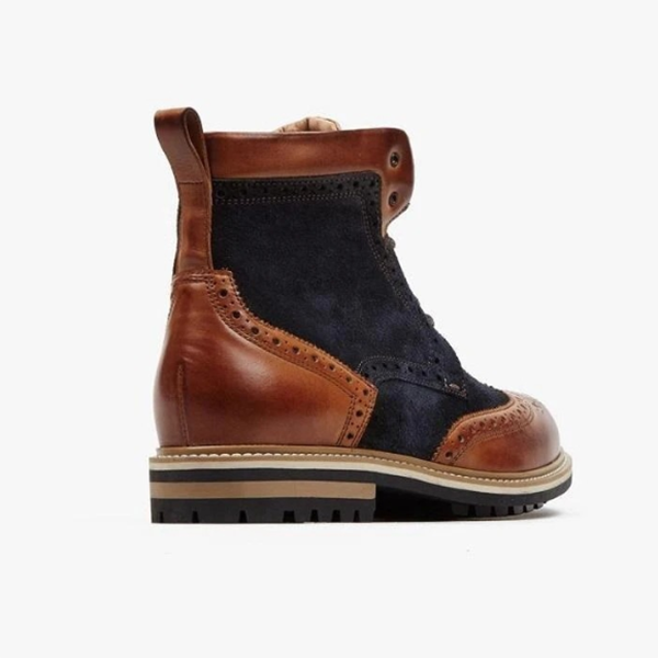 Comfortable Low-heeled Round Toe Men's Colorblock Low-top Martin Boots