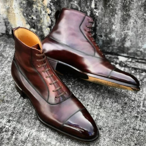 Business Men's Shoes Stitched Low-top Martin Boots