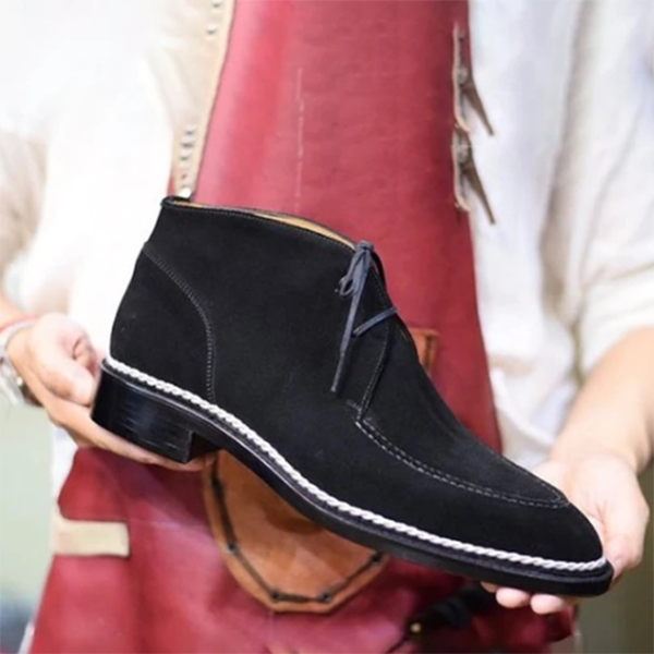 Men's Low-heeled Round Toe Front Lace-up Low-top Martin Boots