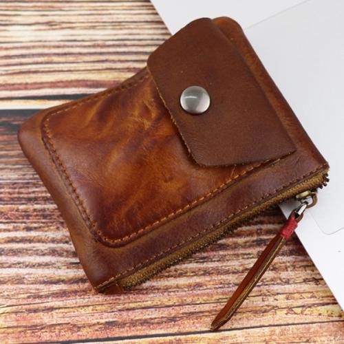 Handmade Retro Leather Multifunctional Zipper Storage Bag