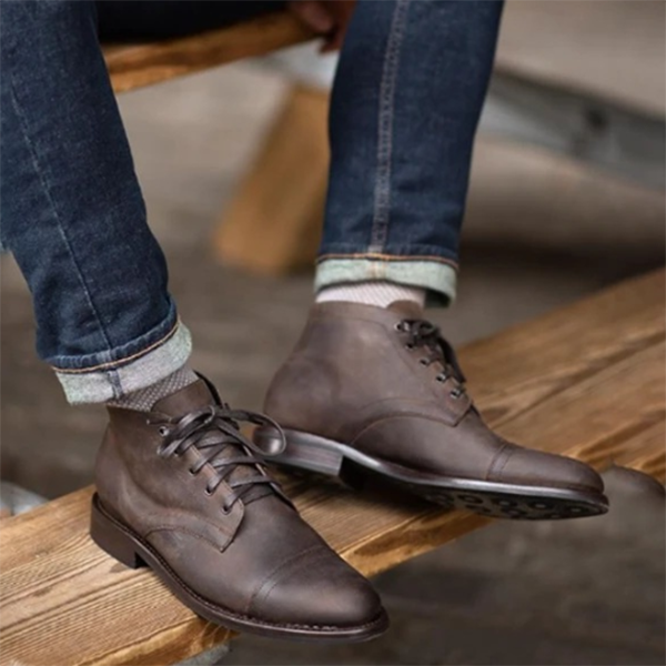 Men's Round Toe Front Lace-up Casual Low-Top Martin Boots