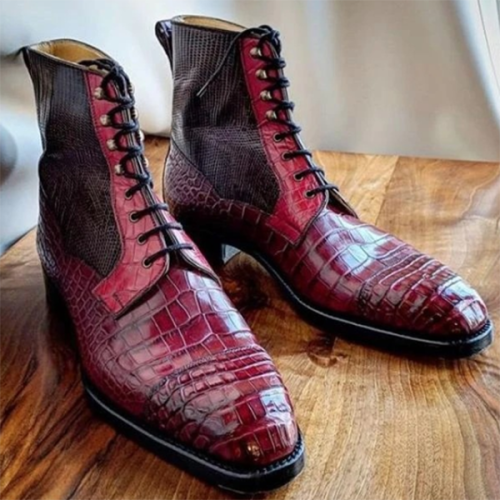 Trendy Solid Color Stone Pattern Lace-up Men's Short Boots
