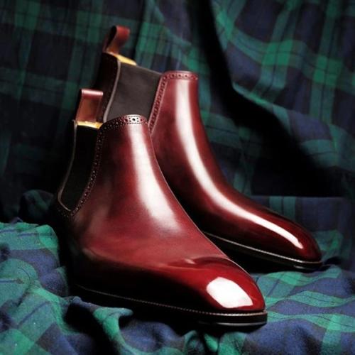 Low-heel Solid Color Men's Business Low-top Chelsea Boots