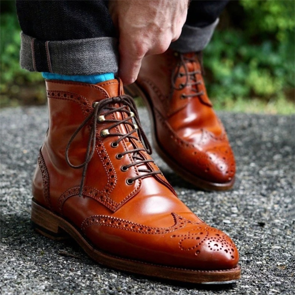 Trendy Low-heel Lace-up Men's Business Low-top Martin Boots