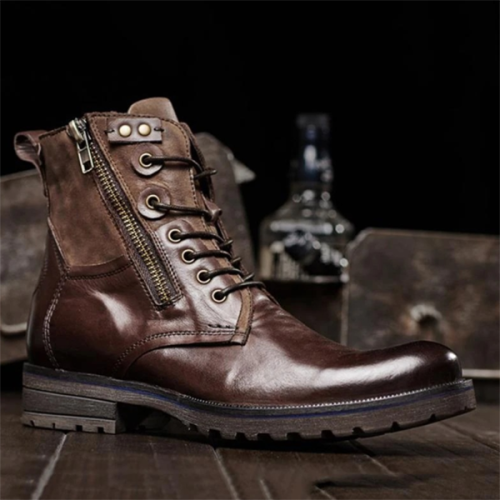 Men's Low-heeled Round Toe Lace-up Low-top Martin Boots