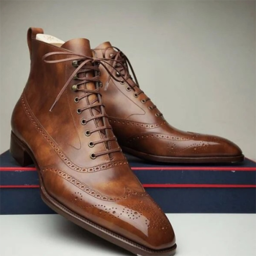 Fashion Low-heel Square Toe Lace-up Men's Business Low Boots