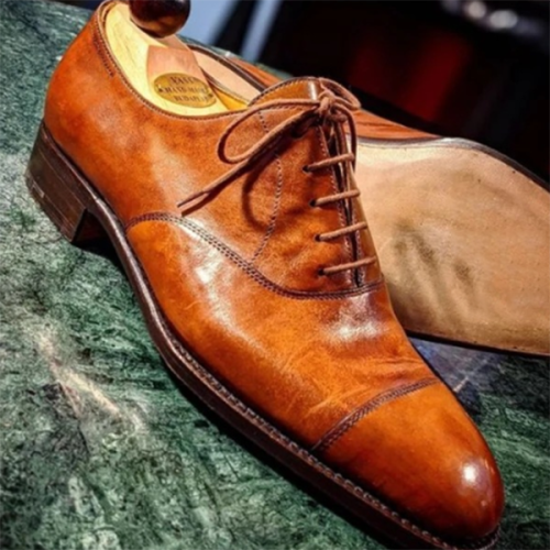 Men's Low-heel Round Toe Lace-up Casual Business Shoes